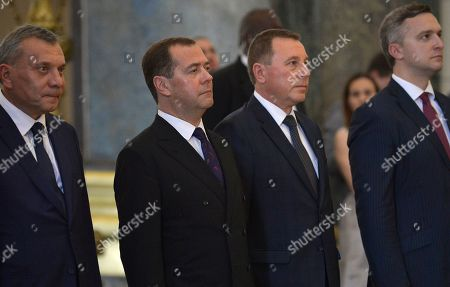 Stock Image of Russian Prime Minister Dmitri Medvedev, second from left, visits the Capitol in Havana, Cuba, . Medvedev's visit is seen by some as confirmation of a new closeness at a time when the island is going through a new economic crisis while under new pressure from the United States