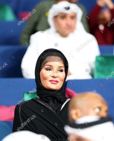 Sheikha Moza bint Nasser, consort of Sheikh Hamad bin Khalifa Al Thani, former Emir of Qatar, attends the IAAF World Athletics Championships 2019 at the Khalifa Stadium in Doha, Qatar, 04 October 2019.