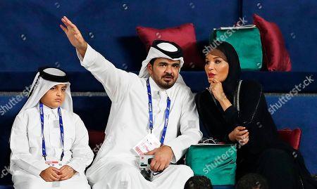 Sheikh Joaan bin Hamad bin Khalifa Al-Thani (L) and Sheikha Moza bint Nasser (R), attend the IAAF World Athletics Championships 2019 at the Khalifa Stadium in Doha, Qatar, 04 October 2019.