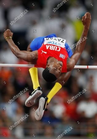Luis Enrique Zayas of Cuba competes in the men's High Jump final during the IAAF World Athletics Championships 2019 at the Khalifa Stadium in Doha, Qatar, 04 October 2019.