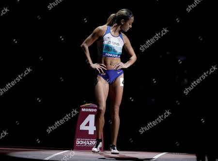 Katarina Johnson-Thompson, of Great Britain, prepares to start the women's heptathlon 800 meter race at the World Athletics Championships in Doha, Qatar