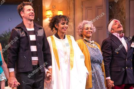 Lloyd Owen (Lloyd Dallas), Anjli Mohindra (Poppy Norton Taylor), Meera Syal (Dotty Otley) and Richard Henders (Frederick Fellowes) during the curtain call