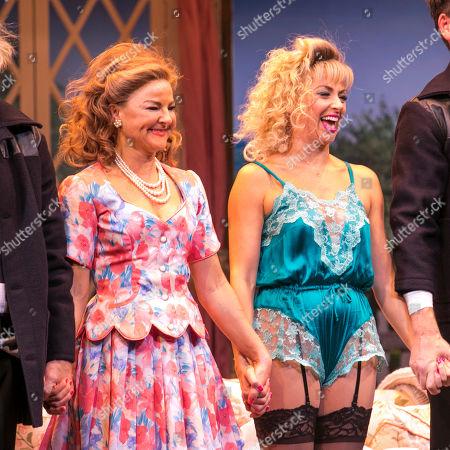 Sarah Hadland (Belinda Blair) and Lisa McGrillis (Brooke Ashton) during the curtain call
