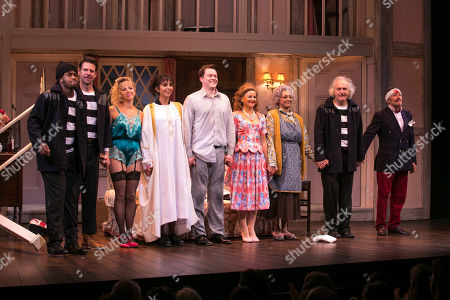 Adrian Richards (Tim Allgood), Lloyd Owen (Lloyd Dallas), Lisa McGrillis (Brooke Ashton), Anjli Mohindra (Poppy Norton Taylor), Daniel Rigby (Garry Lejeune), Sarah Hadland (Belinda Blair), Meera Syal (Dotty Otley), Simon Rouse (Selsdon Mowbray) and Richard Henders (Frederick Fellowes) during the curtain call