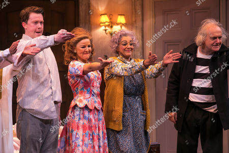 Stock Picture of Daniel Rigby (Garry Lejeune), Sarah Hadland (Belinda Blair), Meera Syal (Dotty Otley) and Simon Rouse (Selsdon Mowbray) during the curtain call