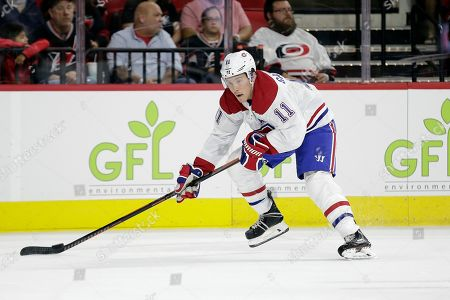 Montreal Canadiens right wing Brendan Gallagher (11) skates against the Carolina Hurricanes during the first period of an NHL hockey game in Raleigh, N.C