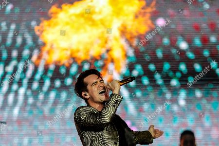 Stock Photo of Brendon Urie performs on stage with his band Panic! at the Disco during the Rock in Rio music festival in Rio de Janeiro, Brazil, 03 October 2019.