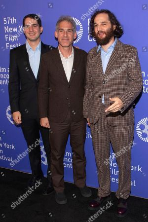 """Benny Safdie, Ronnie Bronstein, Josh Safdie. Writer/director/editor Benny Safdie, from left, writer/editor Ronnie Bronstein, and writer/director Josh Safdie attend the """"Uncut Gems"""" premiere during the 57th New York Film Festival at Alice Tully Hall, in New York"""