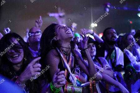 Stock Photo of Music fans enjoy the performance of the Brazilian singer Ivete Sangalo at the Rock in Rio music festival in Rio de Janeiro, Brazil