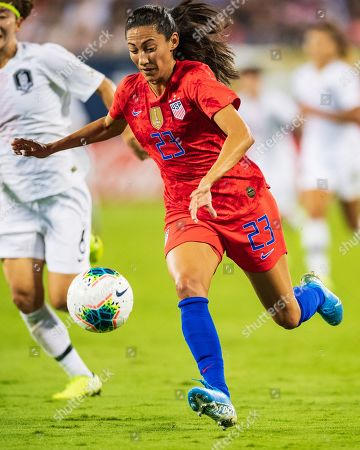 Stock Photo of the United States forward Christen Press (23) during the Victory Tour presented by Allstate Women's International Soccer match between South Korea and the United States at Bank of American Stadium on in Charlotte, NC