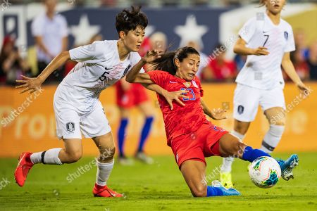 Stock Image of the United States forward Christen Press (23) during the Victory Tour presented by Allstate Women's International Soccer match between South Korea and the United States at Bank of American Stadium on in Charlotte, NC