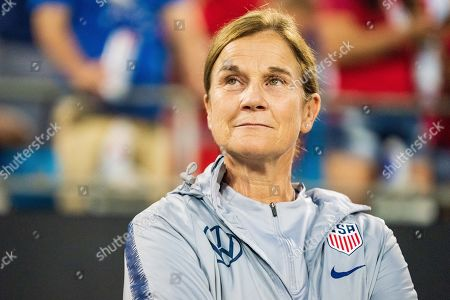 United States Head Coach Jill Ellis during the Victory Tour presented by Allstate Women's International Soccer match between South Korea and the United States at Bank of American Stadium on in Charlotte, NC