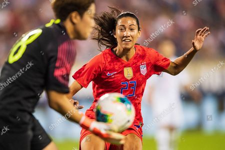 the United States forward Christen Press (23) during the Victory Tour presented by Allstate Women's International Soccer match between South Korea and the United States at Bank of American Stadium on in Charlotte, NC