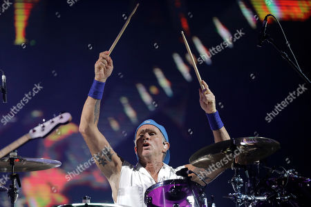 Chad Smith, drummer of the band Red Hot Chili Peppers, performs during the Rock in Rio music festival in Rio de Janeiro, Brazil, early