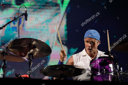 Chad Smith drummer of the band Red Hot Chili Peppers performs at the Rock in Rio music festival in Rio de Janeiro, Brazil, early