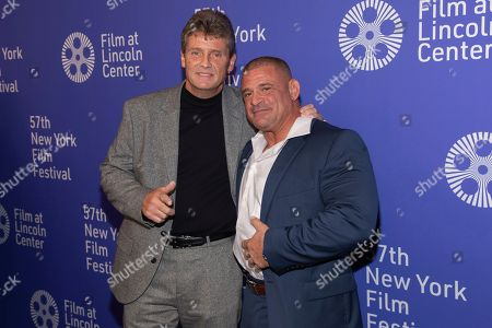 """Keith Williams Richards, Tommy Kominik. Actors Keith Williams Richards, left, and Tommy Kominik attend the """"Uncut Gems"""" premiere during the 57th New York Film Festival at Alice Tully Hall, in New York"""
