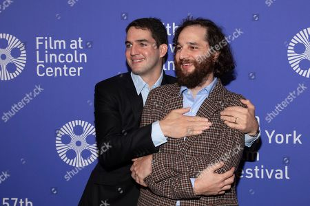 """Benny Safdie, Josh Safdie. Writer/director/editor Benny Safdie, left, and writer/director Josh Safdie attend the """"Uncut Gems"""" premiere during the 57th New York Film Festival at Alice Tully Hall, in New York"""
