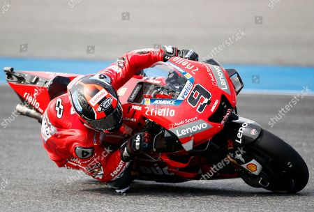 Italian MotoGP rider Danilo Petrucci of Ducati Team in action during the second free practice session of the Motorcycling Grand Prix of Thailand at Chang International Circuit, Buriram province, Thailand, 04 October 2019.