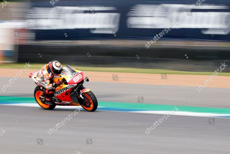Spanish MotoGP rider Jorge Lorenzo of Repsol Honda Team in action during the second free practice session of the Motorcycling Grand Prix of Thailand at Chang International Circuit, Buriram province, Thailand, 04 October 2019.