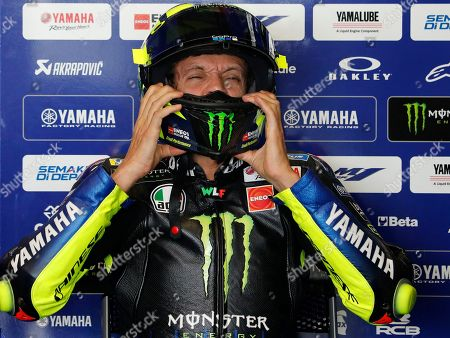 Italian MotoGP rider Valentino Rossi of Monster Energy Yamaha MotoGP Team prepares for the free practice two of the Motorcycling Grand Prix of Thailand at Chang International Circuit, Buriram province, Thailand, 04 October 2019.