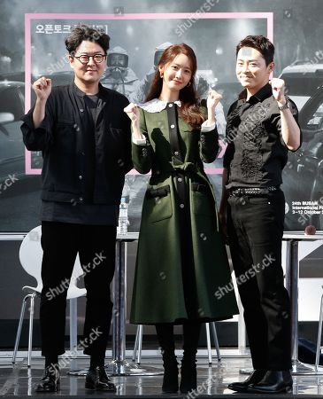 South Korean director Lee Sang-geun, South Korean singer and actress Yoona of girl group Girl's Generation and South Korean actor Cho Jung-seok attend the Open Talk 'EXIT' during the 24th Busan International Film Festival (BIFF), in Busan, South Korea, 04 October 2019. The BIFF will screen 303 films from 85 countries and run from 03 to 12 October 2019.