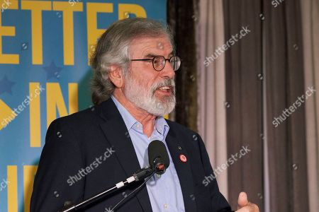 "Former Sinn Fein leader Gerry Adams speaks during a meeting in Dundalk, at the border between Britain's Northern Ireland and the Republic of Ireland that is inside Europe, . Irish republicans believe the prospects of reunification of the island of Ireland are stronger than ever in the wake of the UK's recent Brexit proposals, and Gerry Adams said ""There is going to be a referendum on Irish unity,"" during the public meeting Thursday night"