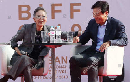 South Korean actress Kim Ji-mi (L) and actor Ahn Sung-ki laugh at a fan meeting during the 24th Busan International Film Festival (BIFF), in Busan, South Korea, 04 October 2019. The BIFF will screen 303 films from 85 countries and run from 03 to 12 October 2019.