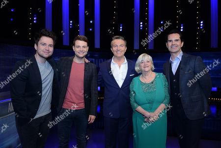 (L-R) Sam Nixon, Mark Rhodes, host Bradley Walsh, Ann Widdecombe and Jimmy Carr