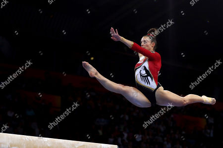 Pauline Schaefer of Germany performs of the balance beam during qualifying sessions for the Gymnastics World Championships in Stuttgart, Germany, Friday, Oct.4, 2019