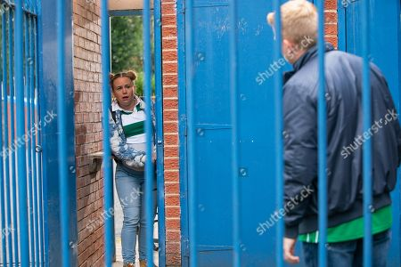 Ep 9897 Wednesday 16th October 2019 - 1st Ep Gemma Winter, as played by Dolly-Rose Campbell, tells Chesney Brown, as played by Sam Aston, she's wangled free VIP tickets to County's match but her delight turns to embarrassment when she gets stuck in the turnstile.