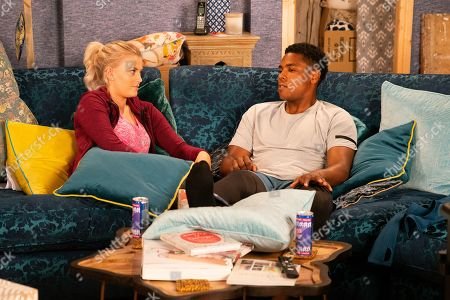 Ep 9898 Wednesday 16th October 2019 - 2nd Ep Bethany Platt, as played by Lucy Fallon, asks James Bailey, as played by Nathan Graham, about the politics of being a professional footballer and says it would make a great article.