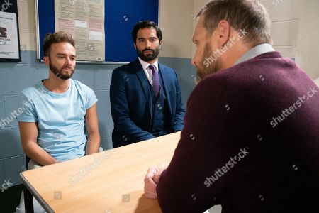 Ep 9903 Wednesday 23rd October 2019 - 1st Ep David Platt, as played by Jack P Shepherd, (with solicitor Imran Habeeb, as played by Charlie De Melo) denies any involvement with Josh' attack.