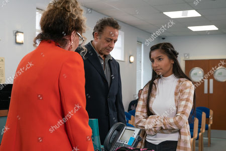 Ep 9893 Monday 7th October 2019 - 1st Ep Dev Alahan, as played by Jimmi Harkishin, takes Asha Alahan, as played by Tanisha Gorey, to see Dr Gaddas who assesses her sore arms and suggests counselling is the way forward.