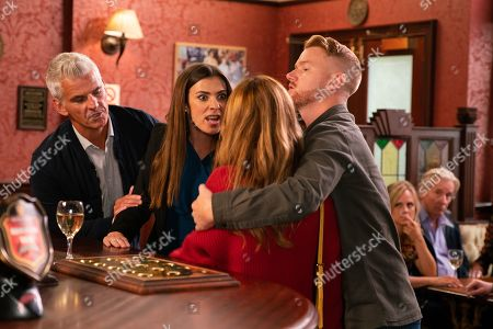 Ep 9894 Monday 7th October 2019 -2nd Ep Gary Windass, as played by Mikey North, calms down a tipsy Maria Connor, as played by Samia Longchambon, as she rows with Michelle Connor, as played by Kym Marsh, over her parenting skills, suggesting both her sons are a disaster. Ryan insists Ali should seek professional help for his addiction. With Robert Preston, as played by Tristan Gemmill.