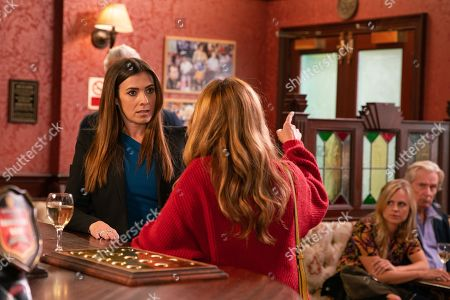 Ep 9894 Monday 7th October 2019 -2nd Ep Gary Windass calms down a tipsy Maria Connor, as played by Samia Longchambon, as she rows with Michelle Connor, as played by Kym Marsh, over her parenting skills, suggesting both her sons are a disaster. Ryan insists Ali should seek professional help for his addiction.