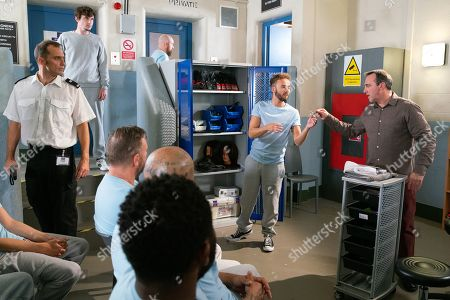 Ep 9895 Wednesday 9th October 2019 - 1st Ep As a fellow inmate, Abe Crowley, as played by Liam Boyle, slips a mobile phone inside his sock, he's furious to clock David Platt, as played by Jack P Shepherd, watching him. He is almost caught with the mobile phone, however he's impressed when David causes a distraction so he can get rid of the phone.