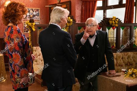 Ep 9895 Wednesday 9th October 2019 - 1st Ep At the party Ken Barlow, as played by William Roache, is thrilled to see Norris Cole, as played by Malcolm Hebden, there and touched when Emily Bishop, as played by Eileen Derbyshire, skypes him from Edinburgh.