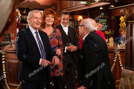 Stock Image of Ep 9895 Wednesday 9th October 2019 - 1st Ep At the party Ken Barlow, as played by William Roache, is thrilled to see Norris Cole, as played by Malcolm Hebden, there and touched when Emily Bishop, as played by Eileen Derbyshire, skypes him from Edinburgh. With Dev Alahan, as played by Jimmi Harkishin.