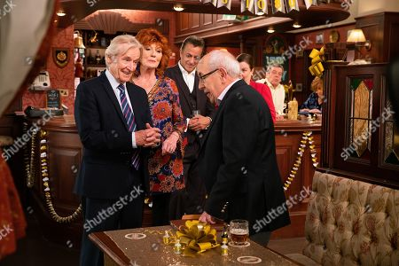Ep 9895 Wednesday 9th October 2019 - 1st Ep At the party Ken Barlow, as played by William Roache, is thrilled to see Norris Cole, as played by Malcolm Hebden, there and touched when Emily Bishop skypes him from Edinburgh. With Dev Alahan, as played by Jimmi Harkishin, Claudia Colby, as played by Rula Lenska.
