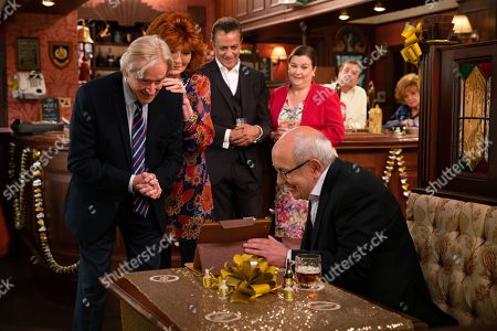Stock Image of Ep 9895 Wednesday 9th October 2019 - 1st Ep At the party Ken Barlow, as played by William Roache, is thrilled to see Norris Cole, as played by Malcolm Hebden, there and touched when Emily Bishop skypes him from Edinburgh. With Dev Alahan, as played by Jimmi Harkishin, and Mary Cole, as played by Patti Clare, Claudia Colby, as played by Rula Lenska.