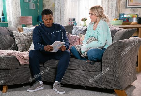 Ep 9900 Friday 18th October 2019 - 2nd Ep Bethany Platt, as played by Lucy Fallon, shows her short story to James Bailey, as played by Nathan Graham. James promises to keep it a secret once he realises that the story is about her own experiences and her love for Daniel.
