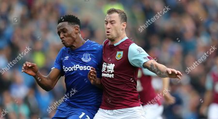 Yerry Mina of Everton and Ashley Barnes of Burnley