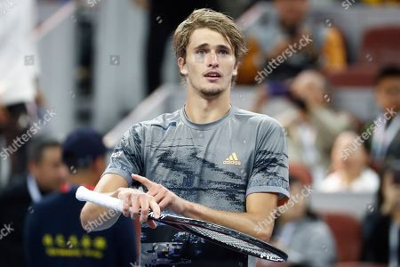 Alexander Zverev of Germany celebrates after he defeated Sam Querrey of USA during their men's singles quarter-final match at the China Open tennis tournament in Beijing, China, 04 October 2019.