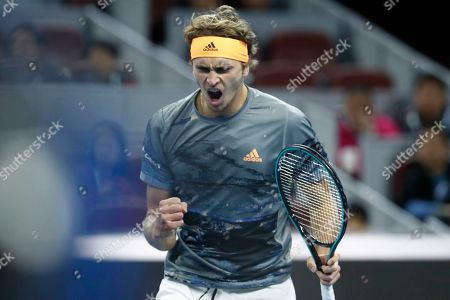 Alexander Zverev of Germany reacts as he in action against Sam Querrey of USA during their men's singles quarter-final match at the China Open tennis tournament in Beijing, China, 04 October 2019.