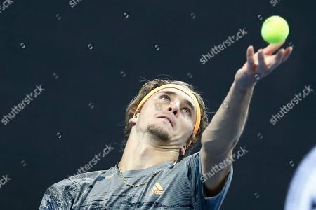 Alexander Zverev of Germany in action against Sam Querrey of USA during their men's singles quarter-final match at the China Open tennis tournament in Beijing, China, 04 October 2019.
