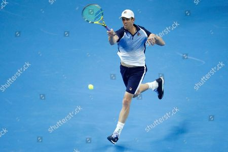 Sam Querrey of USA in action against Alexander Zverev of Germany during their men's singles quarter-final match at the China Open tennis tournament in Beijing, China, 04 October 2019.