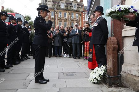 Stock Image of Dame Cressida Dick, DBE. QPM, Commissioner Metropolitan Police laying a wreath at P.C. Blakelock's Annual Memorial Service in Muswell Hill