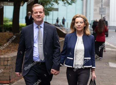 Stock Picture of MP for Dover, Charlie Elphicke, leaves Southwark Crown Court with his wife, Natalie Ross. He is charged with three counts of sexual assault. He has entered a plea of not guilty to these charges. He will stand trial next summer. He allegedly kissed and groped a woman in June 2007 and was twice accused of sexually assaulting a second womanin April and May 2016.