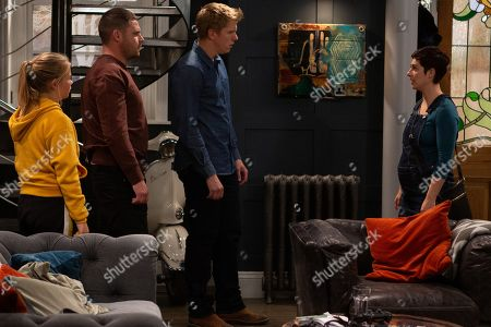Stock Image of Ep 8618 & 8619 Tuesday 15th October 2019 A petrified Victoria Barton, as played by Isabel Hodgins, arrives at Mill and tells Robert Sugden, as played by Ryan Hawley, and Aaron Dingle, as played by Danny Miller, that Lee has died all aware that Robert could now be charged with murder. As Robert starts to unravel, Liv, as played by Isobel Steele, suggests that he and Aaron go on the run.