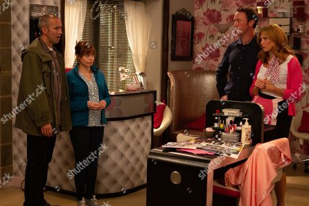 Stock Photo of Ep 8613 & 8614 Tuesday 8th October 2019 An amorous Bernice Blackstock, as played by Samantha Giles, and Liam, as played by Jonny McPherson, are mortified when they accidentally sabotage rivals Sam Dingle, as played by James Hooton, and Lydia's, as played by Karen Blick, wedding competition entry.
